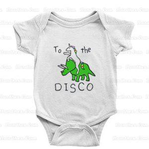 To-The-Disco-(Unicorn-Riding-Triceratops)-Baby-Onesie