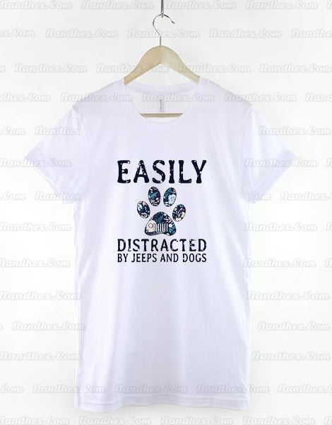 Easily Distracted By Jeeps And Dogs T Shirt