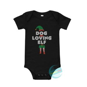 Dog Loving Elf Christmas Baby Onesie