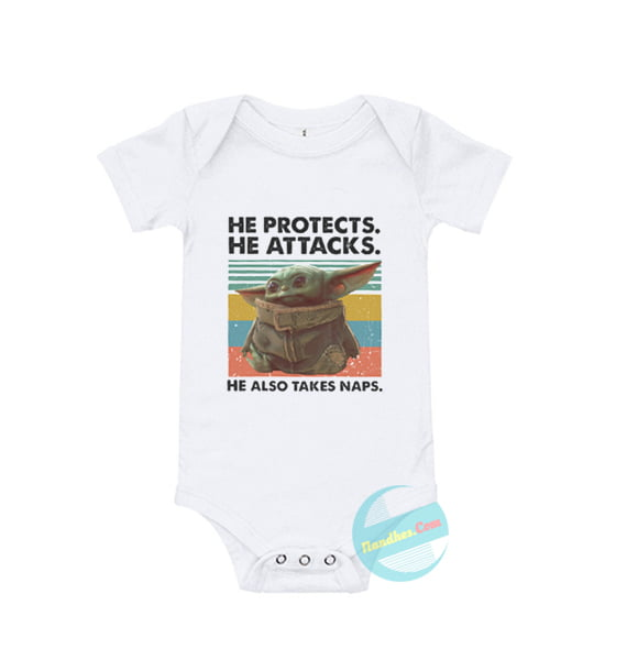 He Protects He Attacks He Also Takes Naps Baby Onesie