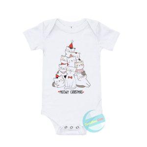 Tree Cats Meowy Christmas Baby Onesie