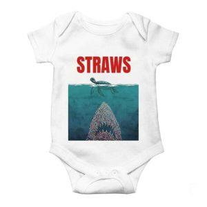 Straws Jaws Turtle Baby Onesie
